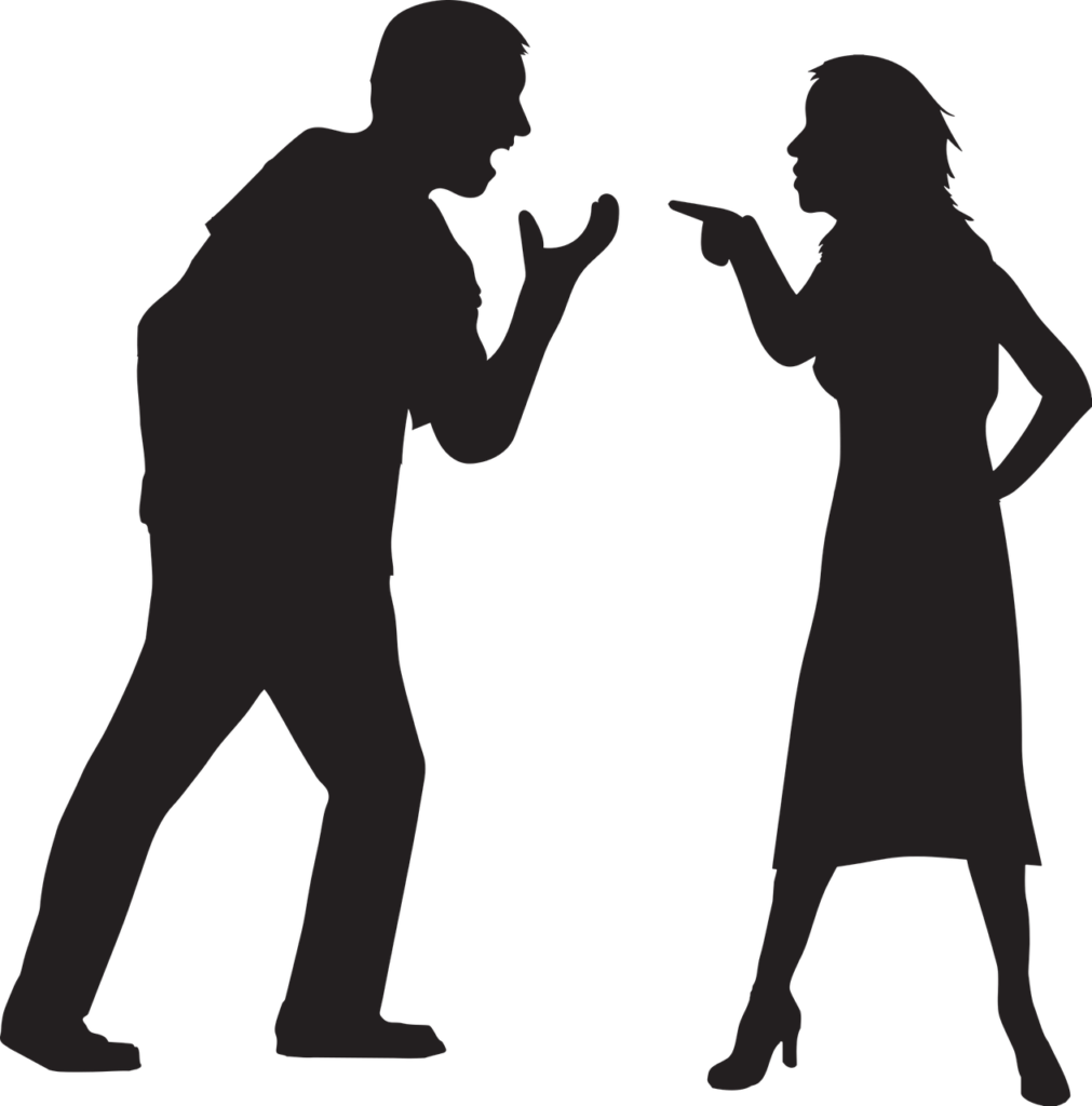 Two individuals arguing with each other showing mental boundaries in a relationship.